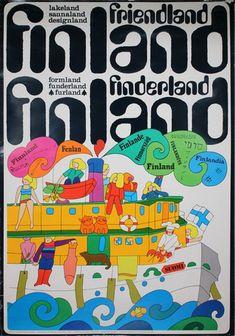 Finland Friendland Finderland original poster designed by Pirjo Lausamo Artwork For Living Room, Finland Travel, Yellow Submarine, Retro Design, Travel Posters, Vintage Posters, Poster Prints, Elephant, Shapes