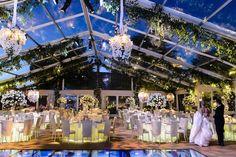 A-Line Transparent Tent Photography: Chrisman Studios Read More: http://www.insideweddings.com/weddings/impressive-colorado-wedding-over-an-olympic-sized-pool/566/