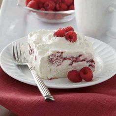 """Raspberry Whip ~ 1 Angel food cake, broken into 1"""" bits, 1 8 oz carton of Cool Whip, 1 C sour cream, 1 C powdered sugar, 1 pint red raspberries, well drained, fresh or frozen. In a medium bowl, mix together the Cool Whip, sour cream, and powdered sugar. Fold in raspberries. Place all the angel food cake bits in the bottom of a 9"""" x 13"""" baking dish. Pour the raspberry mixture over the cake. Cover the pan with plastic wrap and refrigerate one hour. Leftovers should be refrigerated immediately."""
