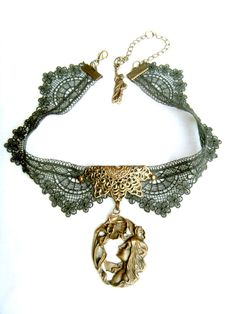 lace pendant choker necklace  vintage gothic by LaceFancy on Etsy