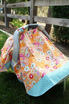 Orange and Teal Bird Paisley Baby Car Seat Cover by thelilredwagon, $27.95