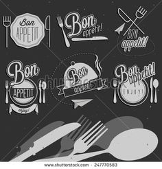 Bon Appetit! Enjoy your meal! Retro vintage style hand drawn typographic symbols for restaurant menu design. Set of Calligraphic titles and symbols. Fast food. Meal lettering collection. - stock vector