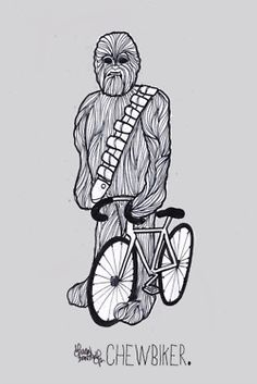 'Chewbiker' • Sha'an d'Antheson Facebook // on Twitter Just a quick 20 minute drawing for a mate's birthday.I'm going to swap the text at the bottom with something else and then Dommy is going to turn them into spoke cards for all my dirty, fixie loving friends.