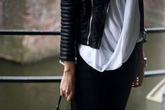 // draped tops and leather jackets //