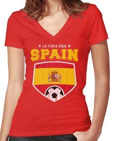 86431a60208 2018 Spain Soccer Espana Futbol World Soccer Flag Women s Fitted V-Neck  T-Shirt