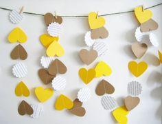 Yellow and Kraft Hearts Paper Garland