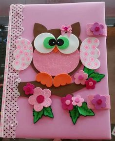 Capa de coruja, em EVA. Kids Crafts, Owl Crafts, Diy And Crafts, Arts And Crafts, Paper Crafts, File Decoration Ideas, Foam Sheet Crafts, Homemade Journal, Diy Y Manualidades