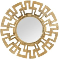 This Cast Greek Key Mirror MIRROR from Dimond Home comes in Antique Gold finish. Part UPC: 818008022685 Weight: 12 lbs. Height: 24 inches Width: 24 inches Length: 1 inches Finish: Antique Gold Material: Aluminium Item Type: MIRROR Vendor: Dimond Home Antique Gold Mirror, Metal Mirror, Round Wall Mirror, Mirror Art, Round Mirrors, Wall Mirrors, Sun Mirror, Mirror Glass, Modern Mirrors