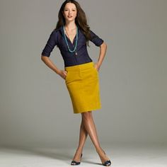 Banana Republic Corduroy Yellow Mustard Skirt Love this skirt! I wear it with my plaid ruffle shirt (see closet for listing) and tights in the fall and winter and with tanks in the summer and spring. Very versatile. Pictures of models or bloggers wearing this may not be representative of the actual item. These are mainly styling suggestions. Banana Republic Skirts