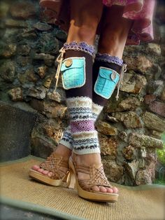 LEG WARMERS with POCKETS soft silk norwegian style Teal Brown up cycled unique eco friendly clothing