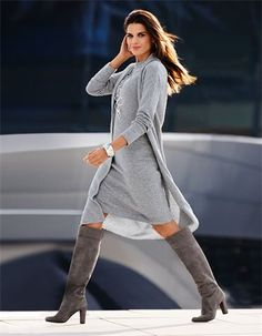 Knitted coat, Knitted dress, Bracelet, Necklace, Boots