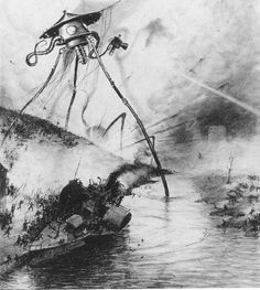 Henrique Alvim Corrêa - The Martian Fighting Machines in the Thames Valley (1906), illustration from H. G. Wells' War of the Worlds
