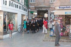 L'arrivo del Corteo Accademico in piazza Matteotti