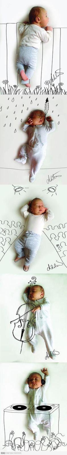 Leuk idee om te tekenen op je kinderfotos!