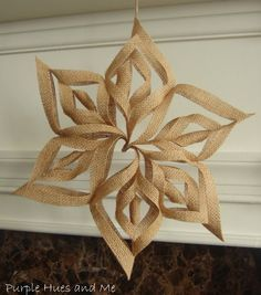 Burlap 3D Snowflake Christmas Ornaments. Wouldn't these look fabulous hanging on a rustic themed tree, or strung together to create a garland.