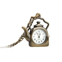 Antique Teapot Necklace Pendant Quartz Pocket Watch