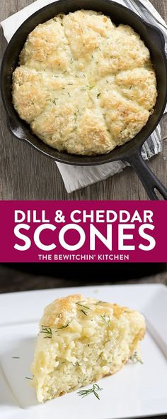 An easy recipe for Skillet Dill and Cheddar Buttermilk Scones, using garden fresh dill and extra old cheese! The perfect lunch or tea break treat! (Cheese Muffins Cheddar)