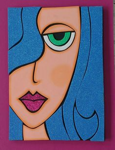 ARTE - ARTE You are in the right place about salute pose Here we offer you the most beautiful pictures abo - Diy Canvas Art, Acrylic Painting Canvas, Pencil Art Drawings, Art Sketches, Abstract Face Art, Hippie Painting, Cubist Art, Arte Pop, Whimsical Art