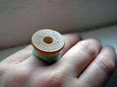 Vintage Thread Spool Rings.  Sweet idea for anyone who sews.