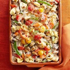 We love this Tortellini and Garden Vegetable Bake! It is the perfect, cozy, all-veggie casserole! More recipes here: http://www.bhg.com/recipes/casseroles/vegetable-casserole-recipes/?socsrc=bhgpin110113tortelliniandgardenvegetablebake&page=1