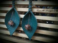 Leather earring. Cercei din piele si bile de sticla #earrings #leatherearrings #cercei #cerceidinpiele