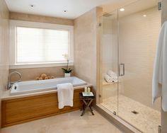 glass enclosed shower, tub