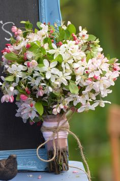 Recipe Crab apple blossoms  Bound with string and pink gingham ribbon