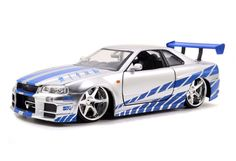 Brian's silver 1999 Nissan Skyline diecast model car by Jada from The Fast And Furious movie.