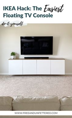 After one year of living in our new home we're finally at the point where Ikea Tv Console, Tv Ikea, Floating Tv Console, Floating Tv Shelf, Ikea Hack, Living Room Wall Designs, Ikea Living Room, Dining Room Design, Ikea Design