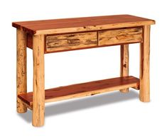 Amish Log Furniture Sofa Table with Drawers This sofa table offers the warmth and natural character of log furniture. It offers storage with two drawers and it's Amish made in your choice of rustic aspen, rustic pine or rustic red oak.