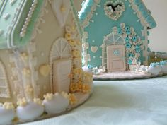 Pretty blue and white gingerbread houses.