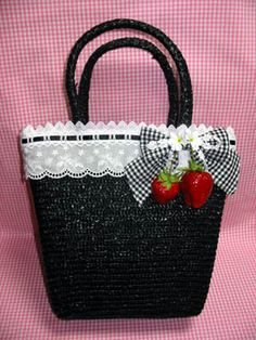 Angelic Pretty / Bags & Wallets / Strawberry Basket Bag - great idea for a DIY - sew lace to top of black straw bag