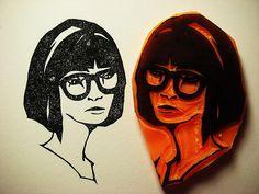 Linoleum print-self portraits