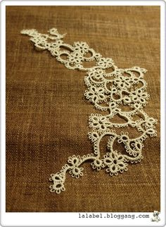 Free-form tatting.  Mainly using 3-2-2-2-2-3 rings and chains.  Probably use it to decorate my tee.