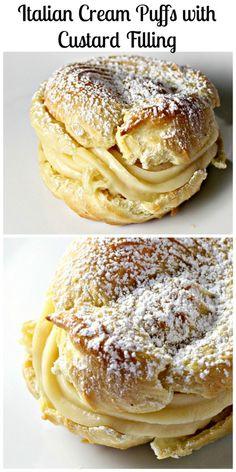 Italian Cream Puffs with Custard Filling | CookJino