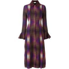 Fendi Printed Pleated Dress (€3.260) ❤ liked on Polyvore featuring dresses, multicolour, multi color dress, mid length dresses, longsleeve dress, purple pleated dress and colorful dresses