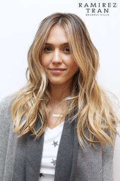 Jessica Alba After: Anh gave Jessica his signature lived-in cut, while Johnny worked on taking her dark brunette locks to light, buttery shades of blond and caramel.