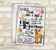 Farm animal birthday invitation for barn animal theme kids birthday party , horse pig cow cute farm animal original art
