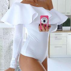 Ruffled One Shoulder Bodysuit  #Free❤Shipping #CouturefxCom