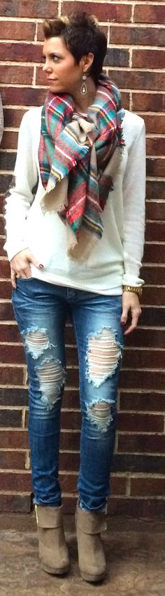 Ripped Jeans with Plaid Blanket Scarf #outfits #fallfashion