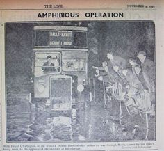 1951 bus driver cheered by Ballyfermot kids driving through the flood waters November 9th, Dublin City, Bus Driver, Old Photos, Kids, Old Pictures, Young Children, Boys, Vintage Photos