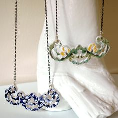 Ceramic necklaces.