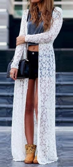 Fashion And Style: Full white lace cardigan