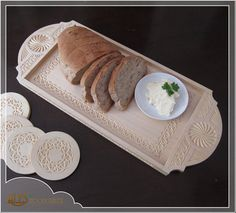 Chip carved Serving tray, a unique kitchen centerpiece with matching set of 4 coasters, food safe, gift for her, 5th wooden anniversary