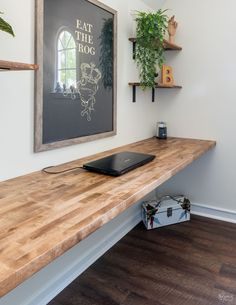 Diy Wood Desk, House Design, Home Office Decor, Wall Desk, Floating Wall Desk, Floating Desk, Home Decor, Butcher Block Desk, Diy Office Desk