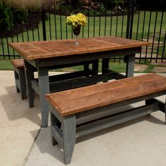 Vintage oak table and benches by the Redneck Designers.