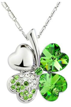 Pendant   Necklace   Jewelry.  Green Shamrock With Heart Crystal Pendant Sterling Silver Necklace.  See it at  http://shrsl.com/?~38ge  $39.00