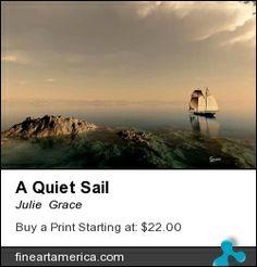 Digital seascape of a sailboat on a calm sea.