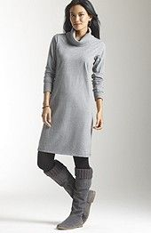 rib mix cowl-neck dress