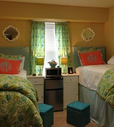 Blue Moon Bedding complete with monogrammed sham in an Ole Miss dorm via Avad Fan